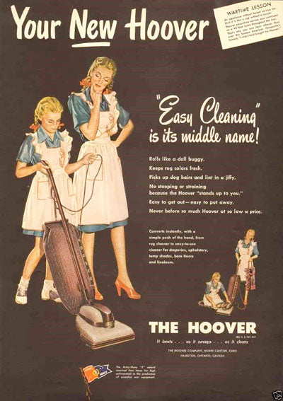 Vintage Hoover Vacuum ad matching mother and daughter