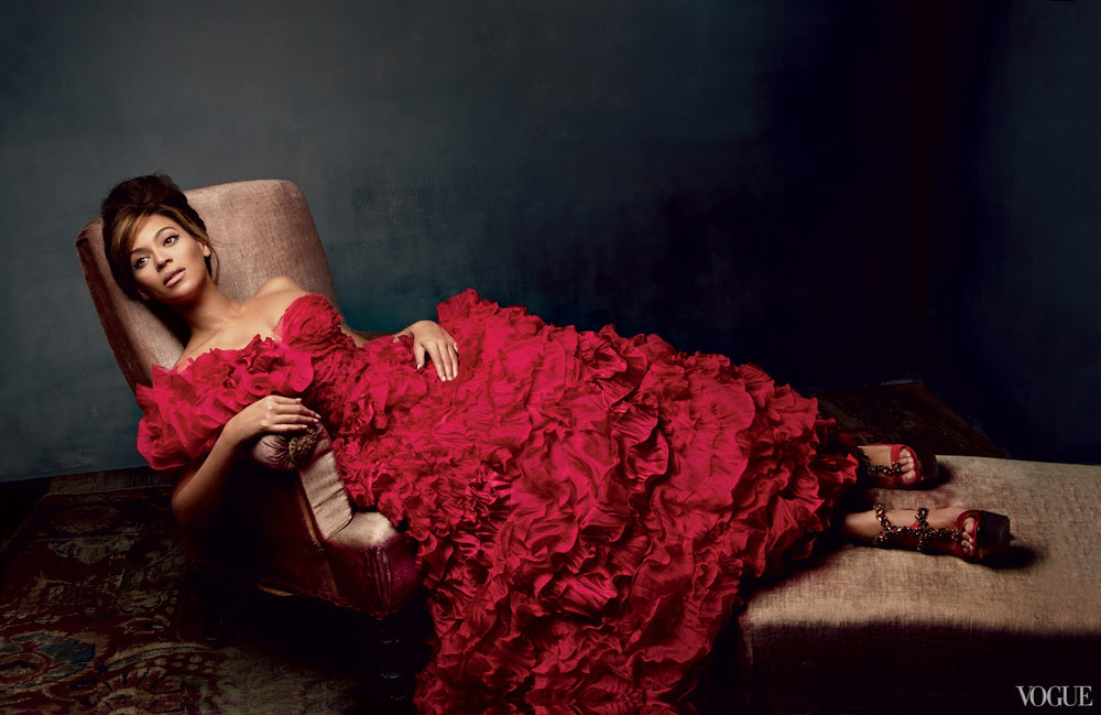 Beyonce in a red Oscar de la Renta dress March 2013 Vogue