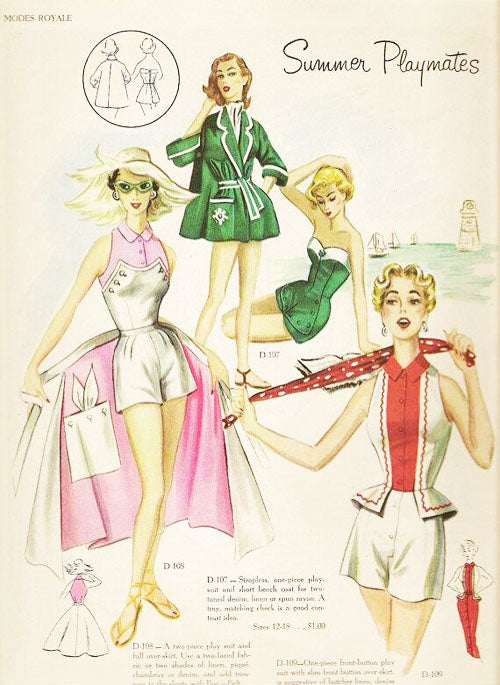 1950's pattern book for playsuits and beach ensembles.