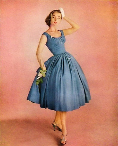 1955 Anne Fogarty Vicara Blue Dress in a 1950's  Robes Virginia-Carolina Chemical Ad