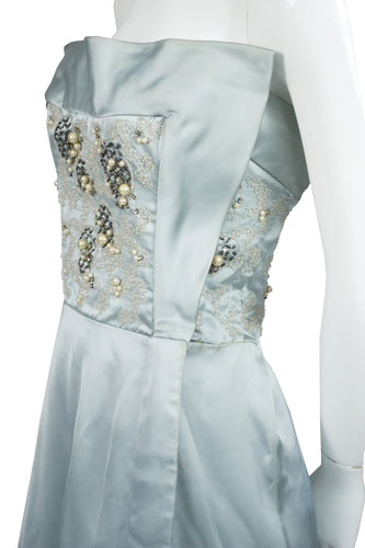 Vintage Harvey Berin Dress with beaded bodice in blue satin