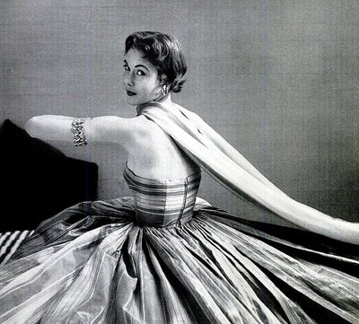 Mrs. Curtis Roosevelt in Anne Fogarty, taffeta dress -  photo by Mark Shaw, 1952