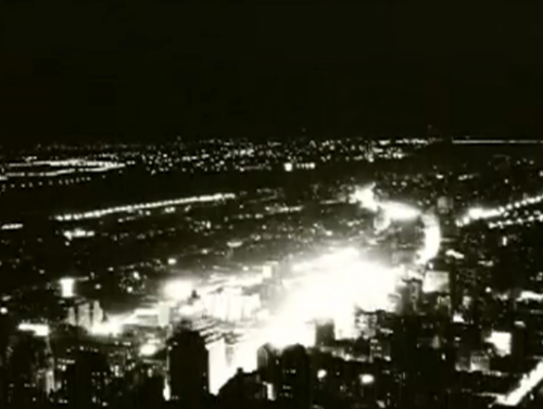 The lights from the ball dropping at the first drop in New York City