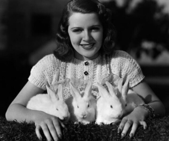 A young Lana Turner with bunnies