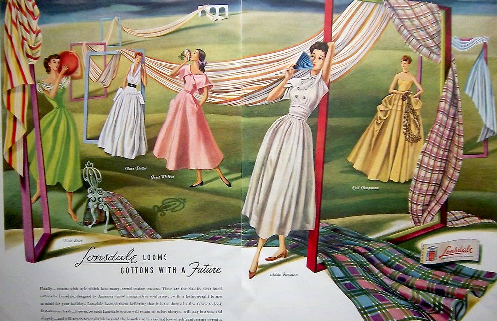 1947 Lonsdale cotton fabric ad featuring designs by prominent mid century female fashion designers Clare Potter, Ceil Chapman, Tina Leser and Adele Simpson,