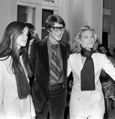Yves Saint Laurent with Lauren Bacall and her daughter