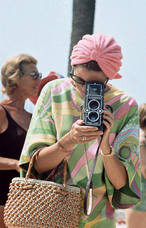 Grace Kelly, Princess Grace of Monaco when this photo was taken, in a Pucci silk caftan in 1972