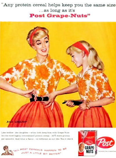 1960's Grape Nuts ad featuring matching mother and daughter