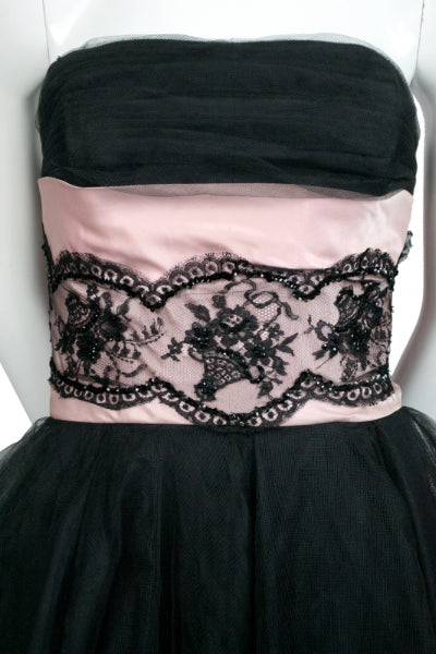 Vintage Mollie Stone 1950s black tulle strapless vintage dress with beaded lace