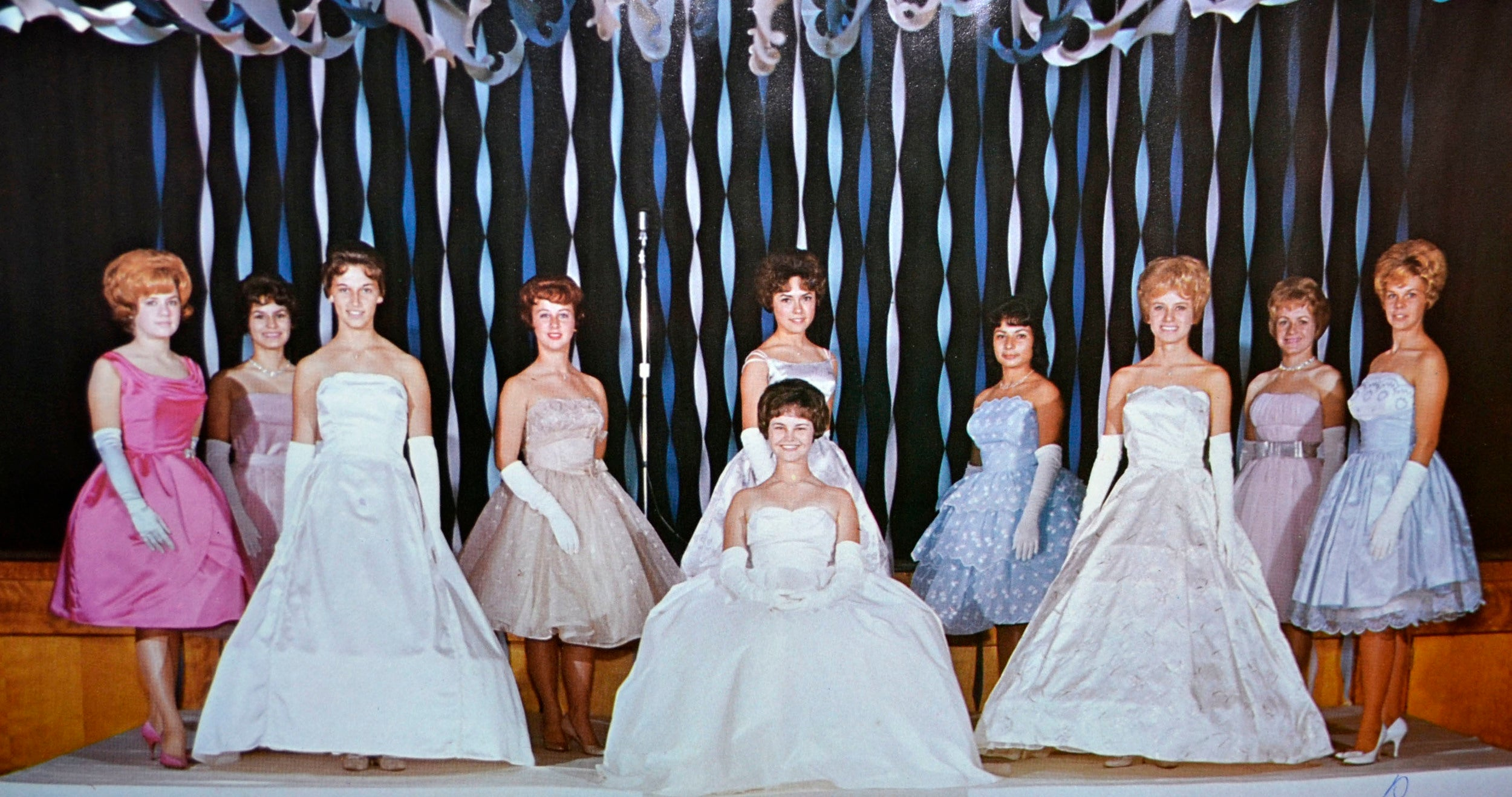 Vintage High School Prom Queen and her court 1960's