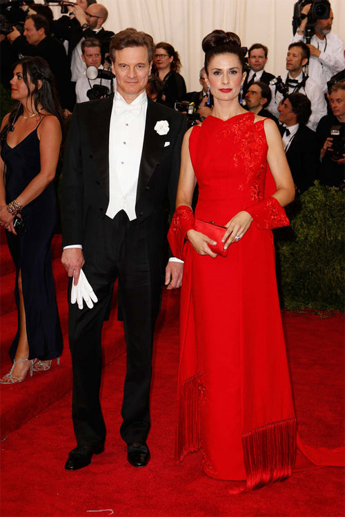 Colin Firth with his beautiful wife Livia Firth, who is wearing an Antonio Berardi dress made of recycled plastic bottles