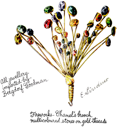 E. Lindner illustration of Chanel fireworks brooch 1938 Vogue