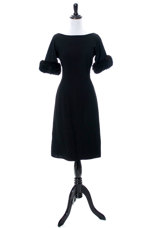 Black vintage dress with fur trim