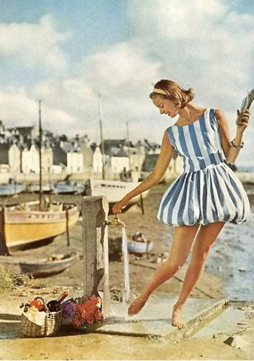 1960 Vogue magazine striped summer playsuit