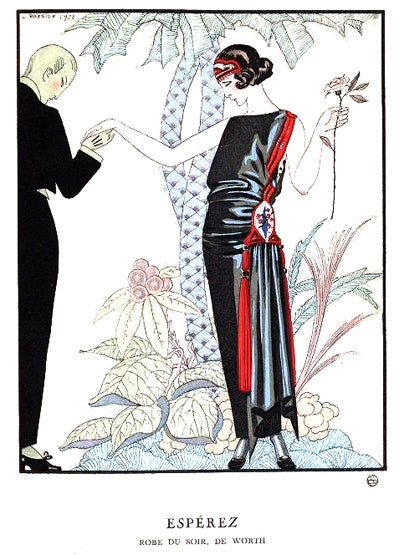 George Barbier hand colored print of evening dress by Worth Esperez