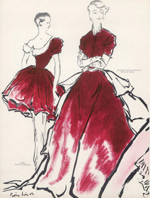 1949 vintage advertisement featuring dresses by Madame Gres and Givenchy in ducharne fabric