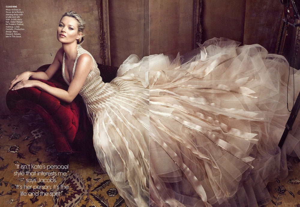 Kate Moss in Oscar de la Renta Vogue 2011 photograph by Annie Leibovitz