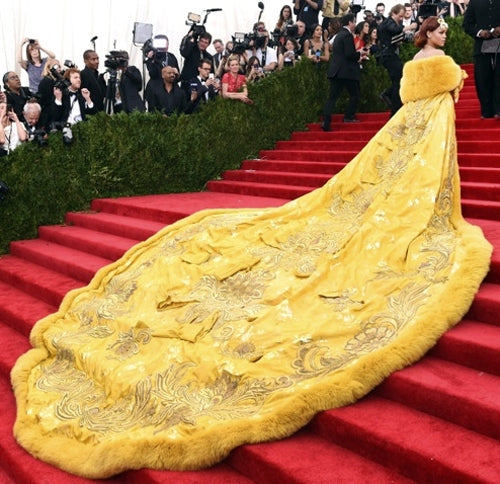 Rihanna in a Guo Pei embroidered cape at the MET gala