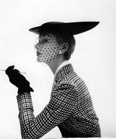 Vogue vintage 1950 photograph by Irving Penn of Lisa Fonssagrives wearing a Lilly Dache hat