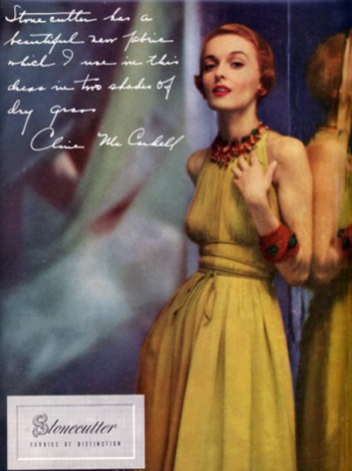Claire McCardell dress in a Stonecutter fabric ad
