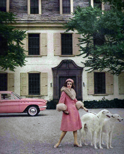 Anne Fogarty. Pink coat - photograph by Francesco Scavullo.