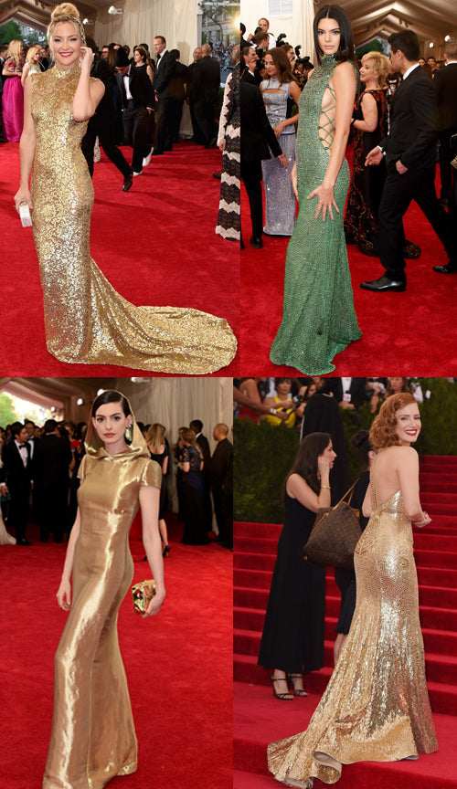 From top left - Kate Hudson in Michael Kors, Kendall Jenner in Calvin Klein, Anne Hathaway in Ralph Lauren and Jessica Chastain in Givenchy.