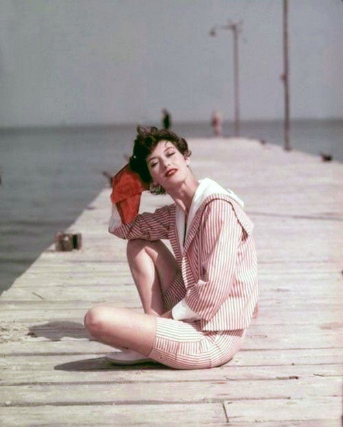 George Dambier photograph 1950's Lanvin playsuit modeled by Barbara Mullen