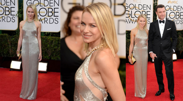 Naomi Watts in glamorous slinky Tom Ford silver gown