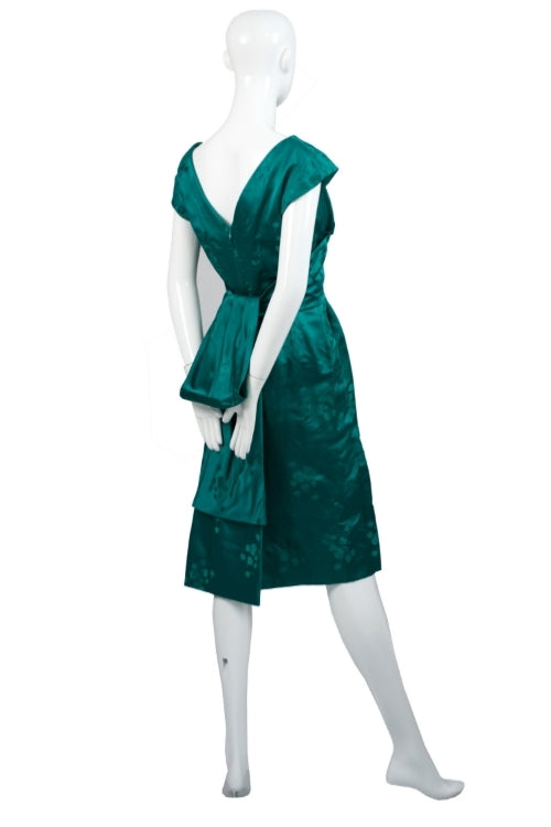 Green jacquard satin vintage dress