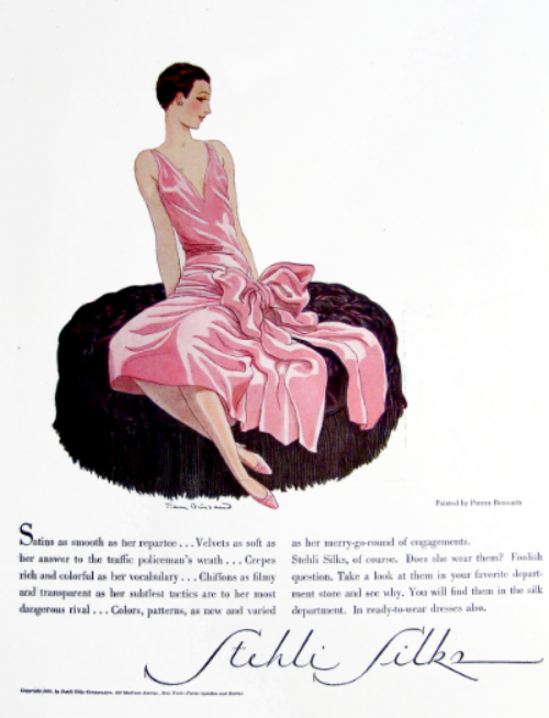 Stehlii Silks advertisement from Vogue-1928  Illustrated by Pierre Brissaud