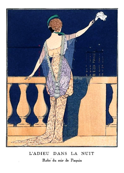 L'Adieu Dans La Nuit André Edouard illustration of Paquin evening gown