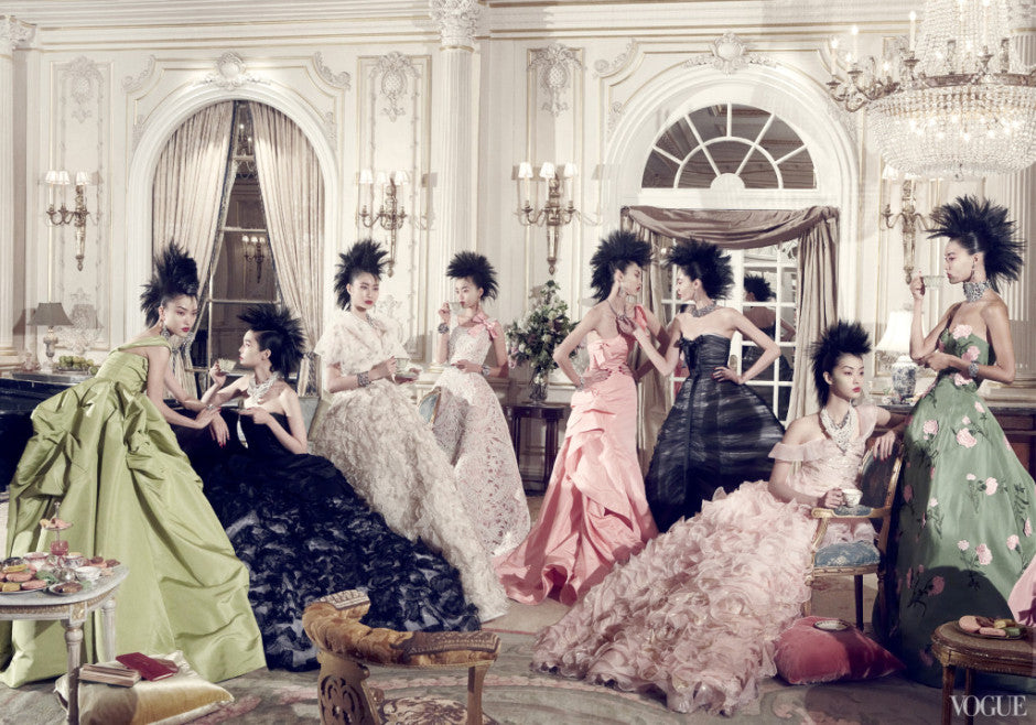 Models in Oscar de la Renta Photographed by Steven Meisel, Vogue, September 2012