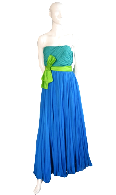 Vintage silk chiffon formal evening dress