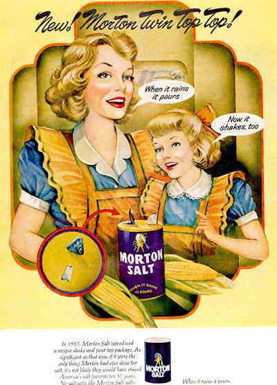 Morton Salt Ad featuring Mother and Daughter in matching dresses and aprons