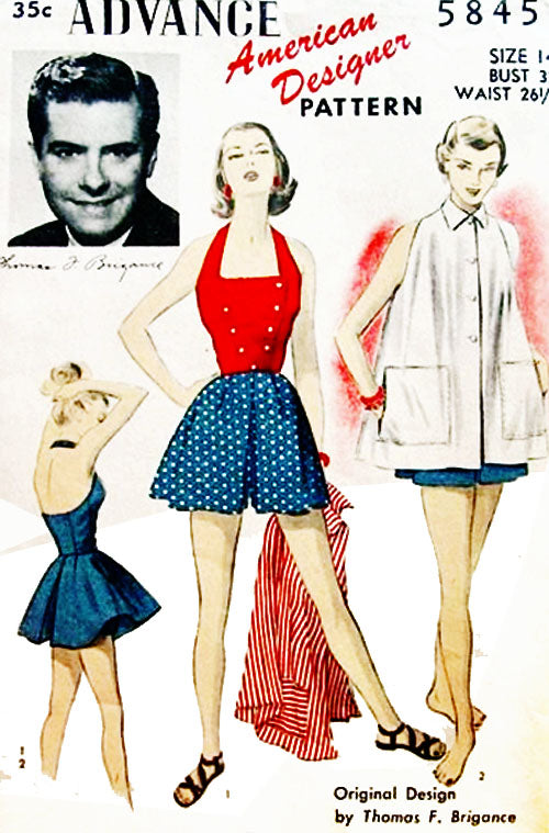 Tom Brigance designer vintage 1950's pattern for playsuits