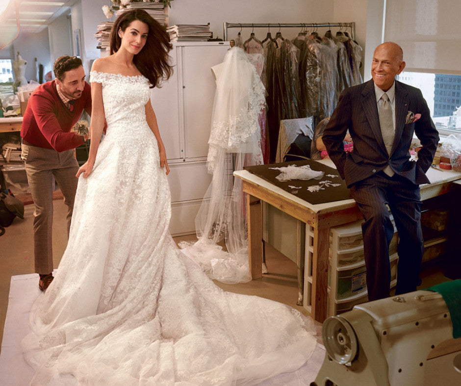 Amal Alamuddin in her custom made Oscar de la Renta wedding gown 2015