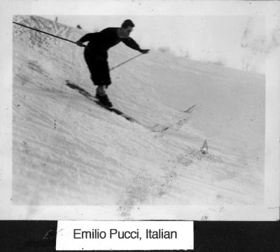 Emilio Pucci on the slopes of Mt. Hood Oregon in 1937 - Reed College archives..