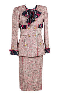 Vintage Pink Chanel Suit with Plaid Bow