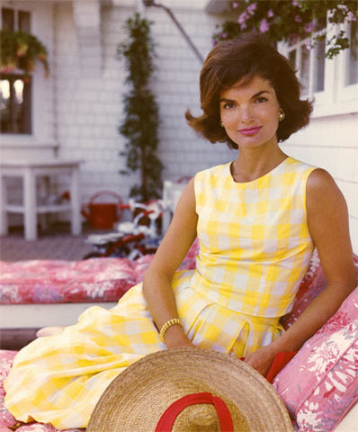 Jackie O in a Plaid Yellow Sundress