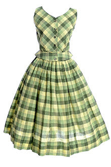 2 Piece 1950's Green and Yellow Plaid Dress