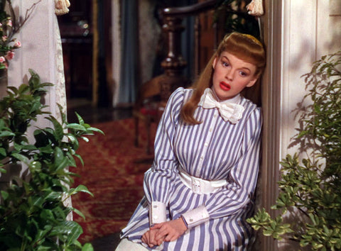 judy garland meet me in st louis striped dress