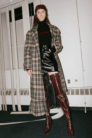 Misbhv NYFW 2017 plaid long trench coat
