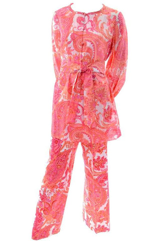 1970s vintage salmon pink paisley pants and tunic outfit