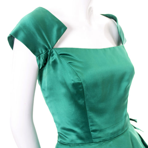 Philip Hulitar 1950s Vintage Dress Green Satin