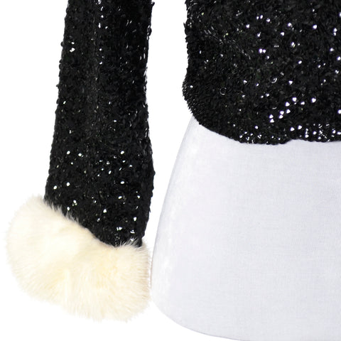 Vintage sequin sweater white mink cuffs