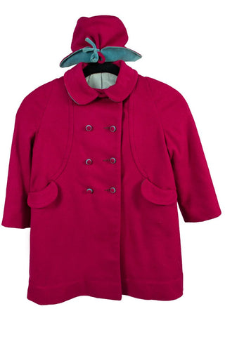 rare schiaparelli vintage coat and hat shocking pink