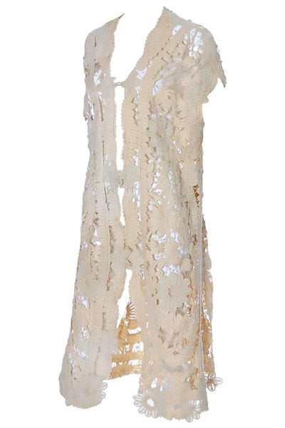 Antique Cream Lace Edwardian Long Vest