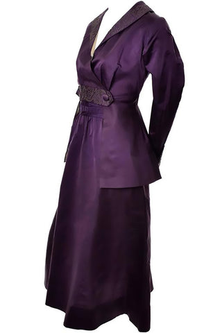 Edwardian Skirt & Jacket Walking Suit Soutache Trim Purple Silk Vintage Ensemble - Dressing Vintage