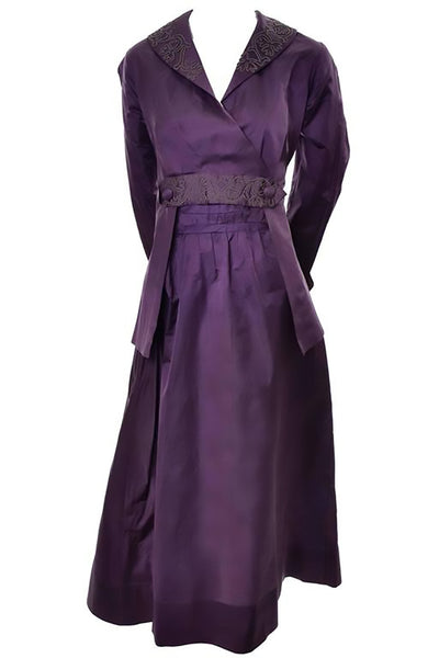 Edwardian walking dress in purple silk with vintage details