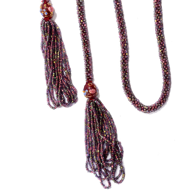 1920s Sautoir Flapper Necklace With Purple & Red Beads & Fringe Tassel